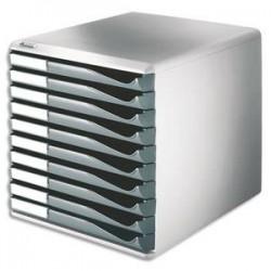LEITZ Bloc de classement 10 tiroirs - Structure grise/Tiroirs gris - L28,7 x H29 x P35,5cm