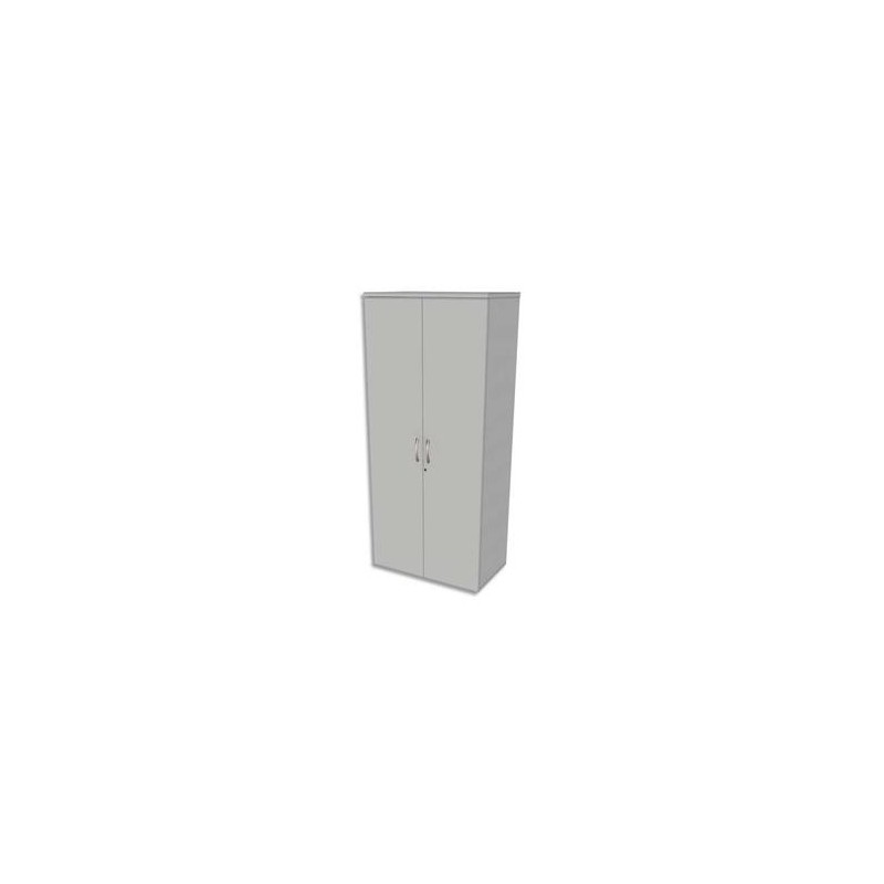 SIMMOB Armoire haute 4 tablettes avec porte Scenario - Dimensions L80 x H180 x P47 cm Blanc perle
