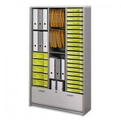 SIMMOB Armoire haute Multiclass - Dimensions L86 x H165 x P46 cm Alu blanc tiroirs vert