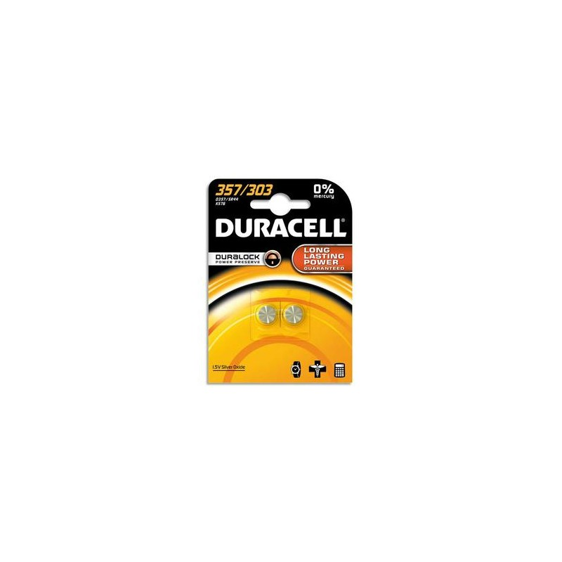 DURACELL Blister de 2 piles 357/303 oxyde d'argent Duralock pour montres 5000394013858