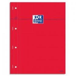 OXFORD Bloc étudiant agrafé côté 160 pages perforées 80g 22,5x29,7cm seyès Couverture carte enduite rouge
