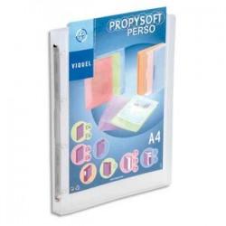 VIQUEL Classeur personnalisable PROPYSOFT PP 7/10ème, dos 3,5 cm, incolore, 4 anneaux ronds