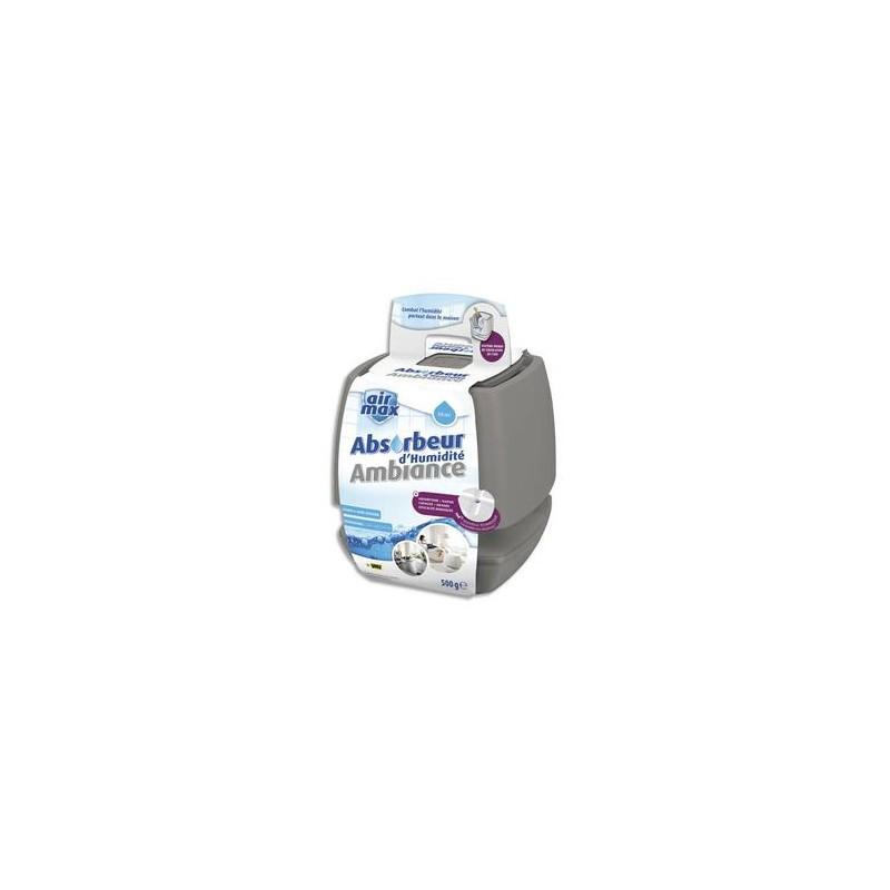 AIR MAX Absorbeur d'humidité capacité 40 m3 environ 500g - Dimensions L16,5 x H18,5 x P16,5 cm gris taupe