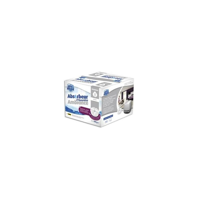 AIR MAX Boîte de 2 Recharges de 500g pour absorbeur d'humidité 48160 - L11,5 x H9,5 x P11,1 cm blanc