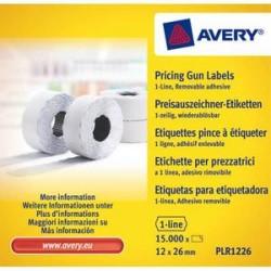AVERY Boîte de 10 rouleaux de 1500 étiquettes 1 ligne (8 caractères) blanches adhésif amovible PLR1226