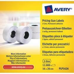 AVERY Boîte de 10 rouleaux de 1200 étiquettes 2 lignes (10+ 8 caractères) blanches adhésif perm PLP1626