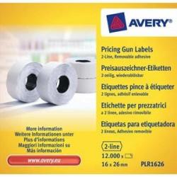 AVERY Boîte 10 rouleaux de 1200 étiquettes 2 lignes (10+ 8 caractères) blanches adhésif amovible PLR1626