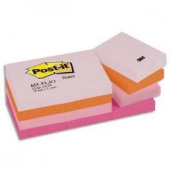 POST-IT Lot de 12 blocs repositionnables coloris PLAISIR dimensions 38X51mm