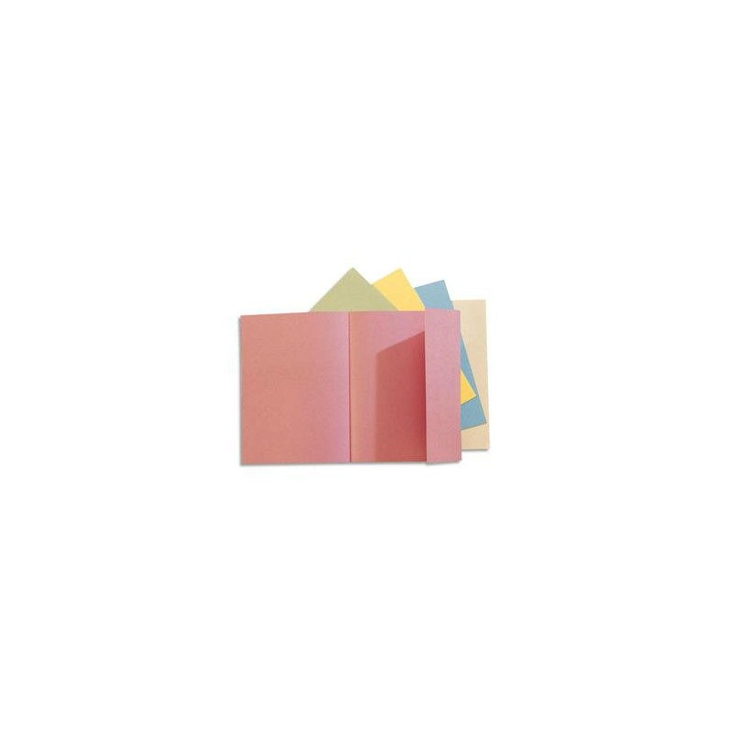 EXACOMPTA Paquet de 50 chemises 1 rabat JURA 250 en carte 240 grammes assortis pastel