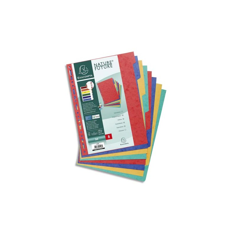 EXACOMPTA Jeu d'intercalaires 8 positions en carte lustrée 3/10e format A4 225g