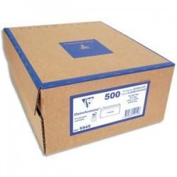 CLAIREFONTAINE Boîte de 500 enveloppes PEFC DL 110x220mm fen 35x100mm vélin blanc 80g auto-adhésive 10615