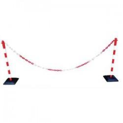 VISO Kit poteaux chaine plastic rouge et blanc 30x100x30 cm