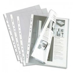 ELBA Sachet de 10 pochettes pour revues en PVC 20/100. Format A4, 11 trous.