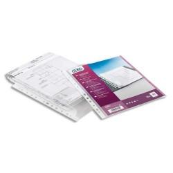 ELBA Sachet de 10 pochettes-plan avec rabat en PVC 30/100. Format A4, 9 trous.