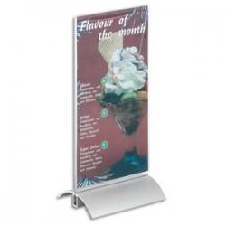 DURABLE Présentoir de table base en aluminium et plaque transparente A5 Dim. L15 x H23,7 x P8,5 cm