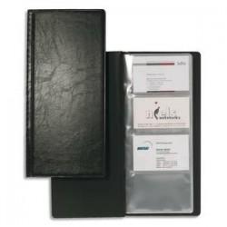 DURABLE Porte-cartes de visite Visifix noir capacité 192 cartes aspect grain d ecuir L11,5 x H25,3 cm