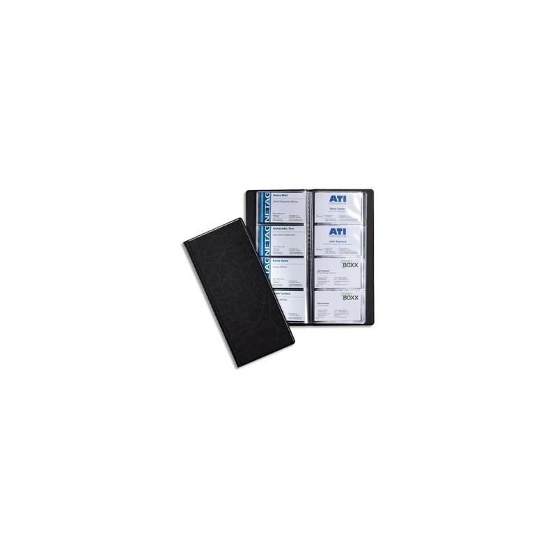 DURABLE Porte-cartes de visite Visifix noir capacité 128 cartes aspect grain d ecuir L11,5 x H25,3 cm