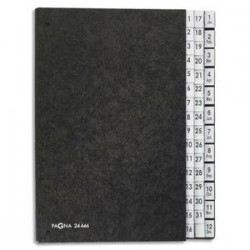 DURABLE Trieur alpha-numérique en papier Recyclé. 44 compartiments (1-31)+(Janv-Dec). Format 26,5x34 cm.