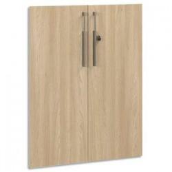 GAUTIER Option 2 portes pleines Vermont  - Dimensions : L80 x H101 x P2 cm coloris Chêne naturel Taupe