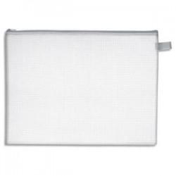 JPC Pochette zippée en PVC renforcé semi-transparente pour le courrier - format 26 x 34,5 épaisseur 0,5cm