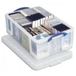 RUB Boîte de rangement 24 Litres + couvercle - Dimensions : L46,5 x H29 x P27 cm coloris transparent