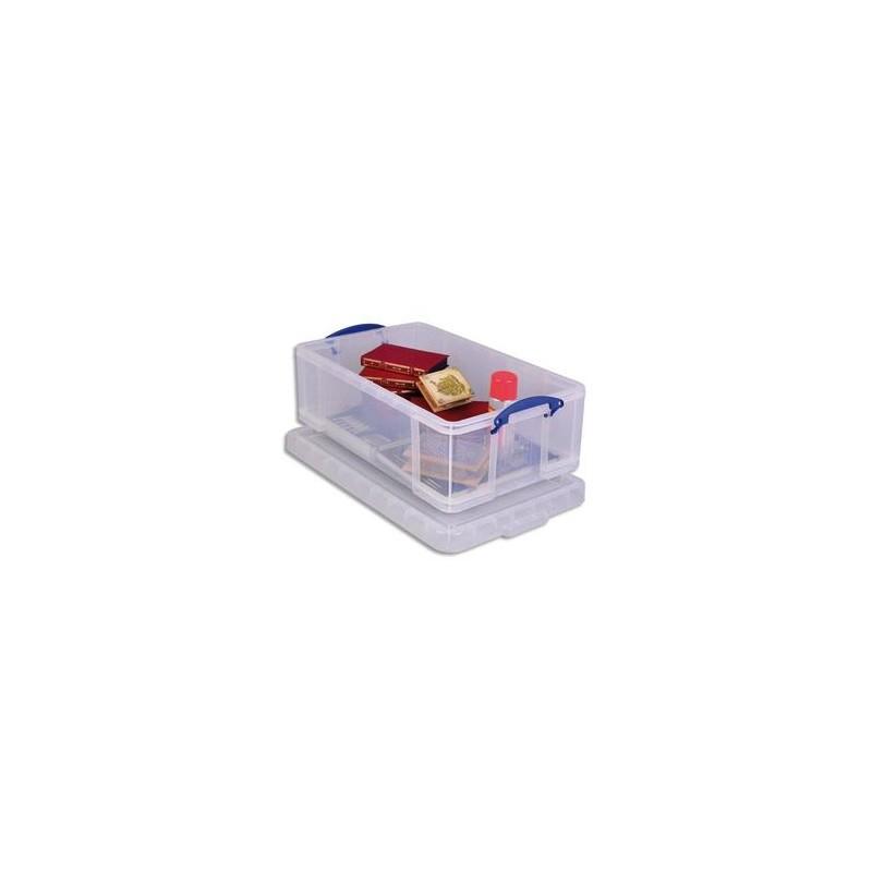 RUB Boîte de rangement 50 Litres + couvercle - Dimensions : L71 x H23 x P44 cm coloris transparent