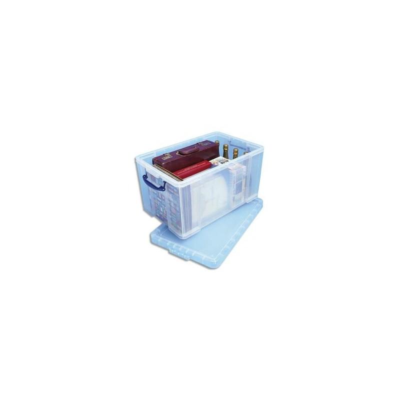 RUB Boîte de rangement 84 Litres + couvercle - Dimensions : L71 x H38 x P44 cm coloris transparent