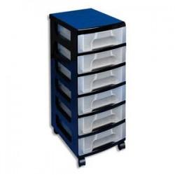 RUB Tour de rangement Office 6 tiroirs de 7 Litres - Dimensions : L42 x H72 x P30 cm coloris transparent