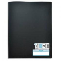 ELBA Protège documents MEMPHIS en polypropylène. 20 pochettes fixes A4 en PP 6/100. Coloris noir