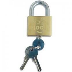 SAFETOOL Cadenas de sécurite laiton monobloc pour exterieur - Dimensions : L3,15 x H1,25 x P3,8 cm