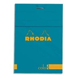 """RHODIA Bloc """"coloR"""" agrafé en-tête 8,5x12 (n°12) 140 pages lignées. Couverture rembordée turquoise"""