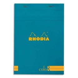 """RHODIA Bloc """"coloR"""" agrafé en-tête 14,8x21 (n°16) 140 pages lignées. Couverture rembordée turquoise"""