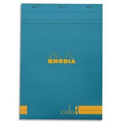 """RHODIA Bloc """"coloR"""" agrafé en-tête 21x29,7 (n°18) 140 pages lignées. Couverture rembordée turquoise"""