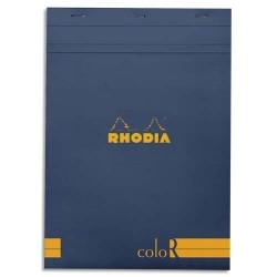 """RHODIA Bloc """"coloR"""" agrafé en-tête 21x29,7 (n°18) 140 pages lignées. Couverture rembordée saphir"""