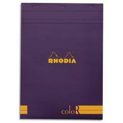 """RHODIA Bloc """"coloR"""" agrafé en-tête 21x29,7 (n°18) 140 pages lignées. Couverture rembordée violet"""
