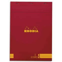 """RHODIA Bloc """"coloR"""" agrafé en-tête 21x29,7 (n°18) 140 pages lignées. Couverture rembordée coquelicot"""