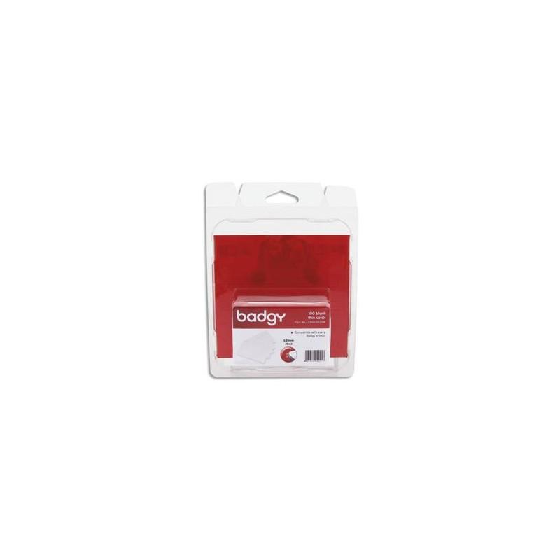 EVOLIS Badgy Lot 100 de cartes PVC fines (20mil - 0,50mm) CBGC0020W