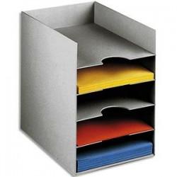 PAPERFLOW Bloc classeur à 5 cases fixes pour doc A4 L25,8 x H31,8 x P32,5 cm gris