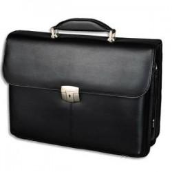 ALASSIO Serviette en cuir noire 2 compartiments + poches - Dimensions : L40 x H30 x P14 cm