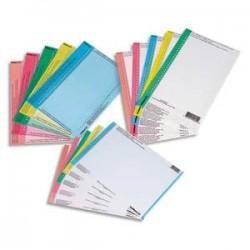 OBLIQUE AZ Sachet de 10 planches d'étiquettes pour dossiers tiroir bleu