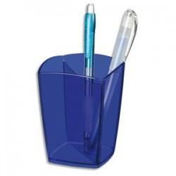 CEP Pot à crayons Happy bleu électrique transparent, 2 compartiments. Diamètre 7,4 cm, H9,5 cm