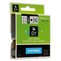 DYMO Ruban D1 noir/blanc 9MMX7M pour 1000/1000+/2000/3500/4500/5000/5504