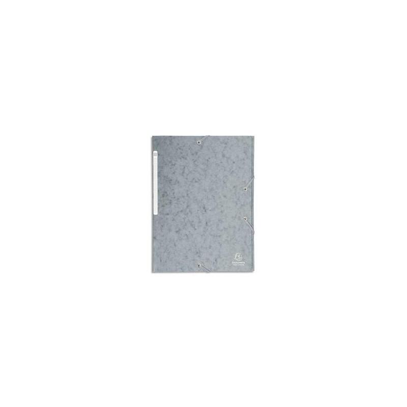 EXACOMPTA Chemise 3 rabats et élastique monobloc , carte lustrée 5/10e gris, élastique fixé devant