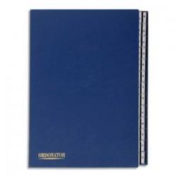 EXACOMPTA Trieur alphabétique 26 compartiments bleu, couverture rigide plastifiée, onglets en plastique