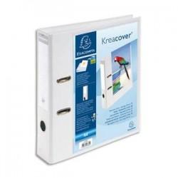 EXACOMPTA Classeur à levier personnalisable 1 face KREACOVER en pvc opaque dos 70mm avec étiquette, blanc