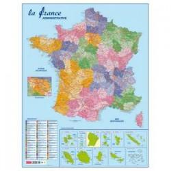 CBG Carte France Administrative, Routière et Dom-Tom murale- Pélliculée 66x84,5cm - 4 oeillets pour susp