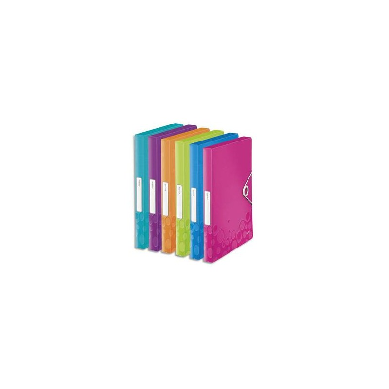 LEITZ Boîte de classement WOW en polypropylène. Dos de 30mm. Fermeture par élastique. Coloris assortis.