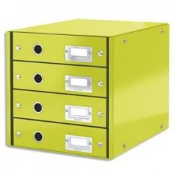 LEITZ Module de classement 4 tiroirs WOW en carton recouvert de polypropylène. Coloris vert.