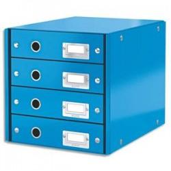 LEITZ Module de classement 4 tiroirs WOW en carton recouvert de polypropylène. Coloris Bleu.