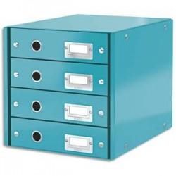 LEITZ Module de classement 4 tiroirs WOW en carton recouvert de polypropylène. Coloris menthe.